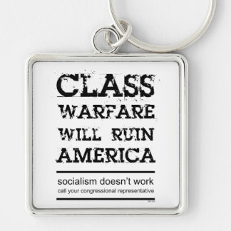 Class Warfare Silver-Colored Square Key Ring