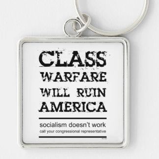 Class Warfare Silver-Colored Square Key Ring