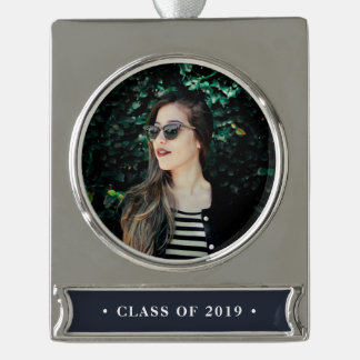 Class Year Graduation Photo Silver Plated Banner Ornament