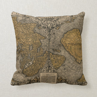 Classic 1531 Antique World Map by Oronce Fine Throw Pillow