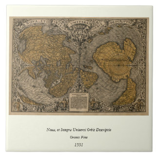 Classic 1531 Antique World Map by Oronce Fine Tile