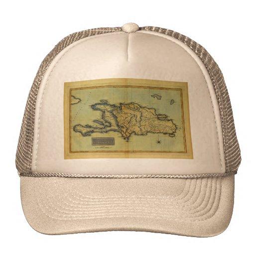 Classic 1823 Antiquarian Map of Hispaniola & Haiti Mesh Hats