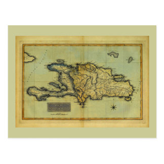 Classic 1823 Antiquarian Map of Hispaniola & Haiti Postcard