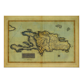 Classic 1823 Antiquarian Map of Hispaniola & Haiti Poster