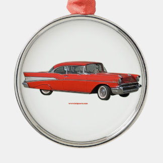 Classic_1957_Chevrolet_Red_texturizer Christmas Ornament
