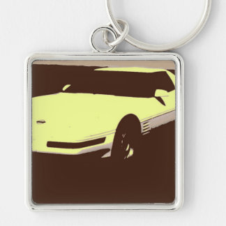 Classic 1992 Car Silver-Colored Square Key Ring