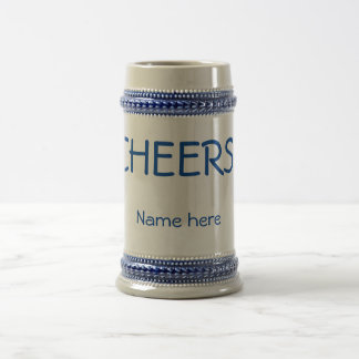 "Classic 22 ounce ""CHEERS!"" beer stein. Customize! Beer Stein"
