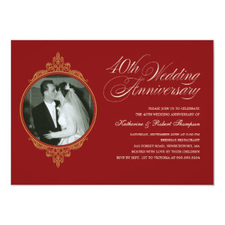 Classic 40th Anniversary Photo Invitations