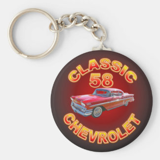 Classic 58 Chevrolet Car Keychain. Basic Round Button Key Ring
