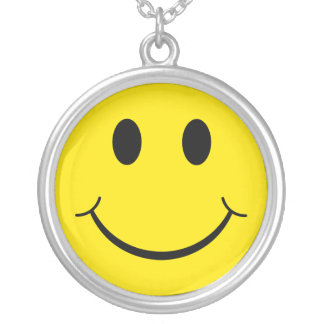 Classic 70's Yellow Smiley Happy Face Silver Plated Necklace
