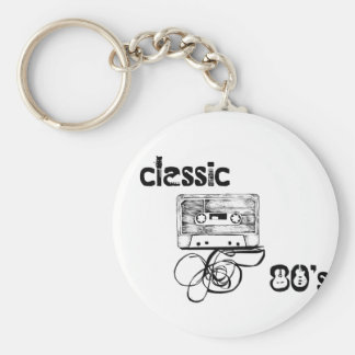 Classic 80's basic round button key ring