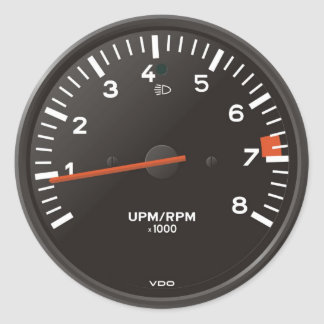 Classic 911 rev counter (old air-cooled car) round sticker