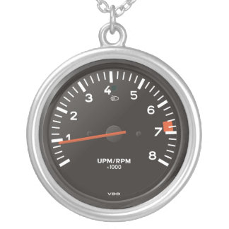 Classic 911 rev counter (old air-cooled car) silver plated necklace