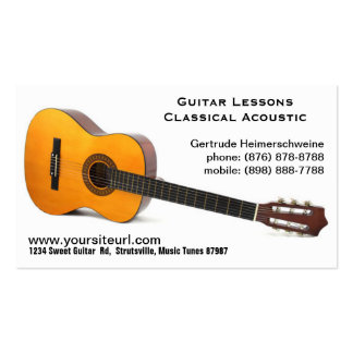 Classic Acoustic Guitar Photo - Music Lessons Pack Of Standard Business Cards