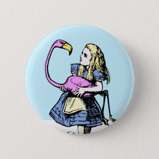 Classic Alice in Wonderland Button #2 Flamingo
