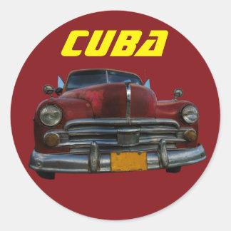 Classic American car in Cuba Classic Round Sticker
