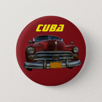 Classic American car in Vinales, Cuba 6 Cm Round Badge