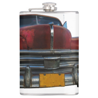 Classic American car in Vinales, Cuba Hip Flask