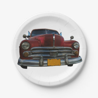 Classic American car in Vinales, Cuba Paper Plate
