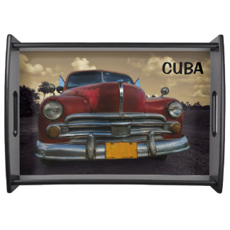 Classic American car in Vinales, Cuba Serving Tray