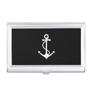 Classic Anchor Black and White Nautical Design Business Card Holder