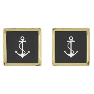 Classic Anchor Black and White Nautical Design Gold Finish Cufflinks