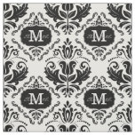 Classic and Chic Black White Damask Monogram Name Fabric