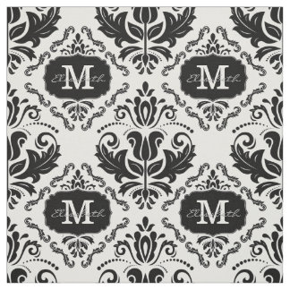 Classic and Chic Black White Damask Monogram Name Fabric