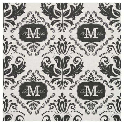 Classic and Chic Black White Damask Monogram Name