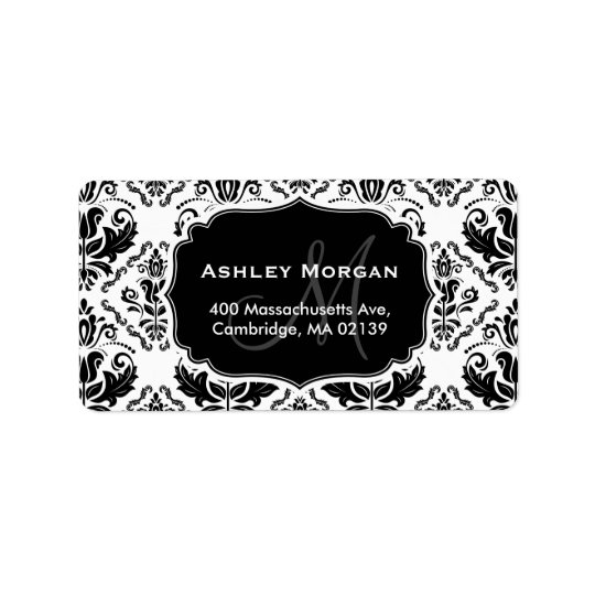 Classic and Chic Black White Damask Monogram Name Label