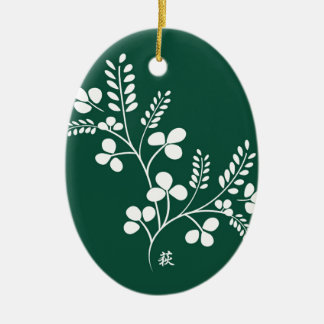 Classic and Chic Japanese Flower Series - Hagi Ceramic Oval Decoration