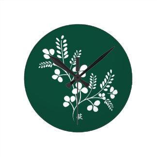 Classic and Chic Japanese Flower Series - Hagi Round Wallclock