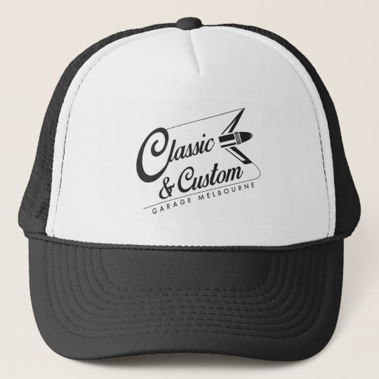 classic and custom garage trucker hat