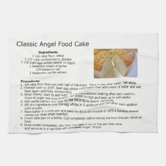 Classic Angel Food Cake Recipe Tea Towel