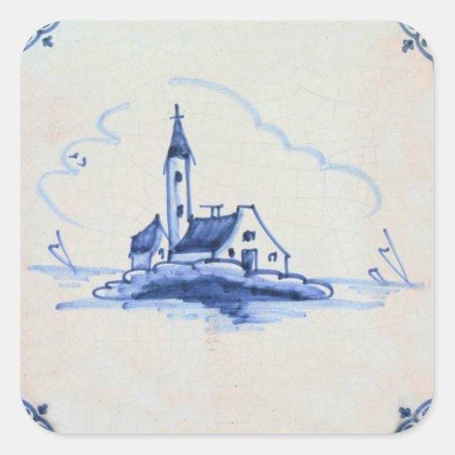 Classic Antiquarian Delft Blue Tile - Church Square Stickers
