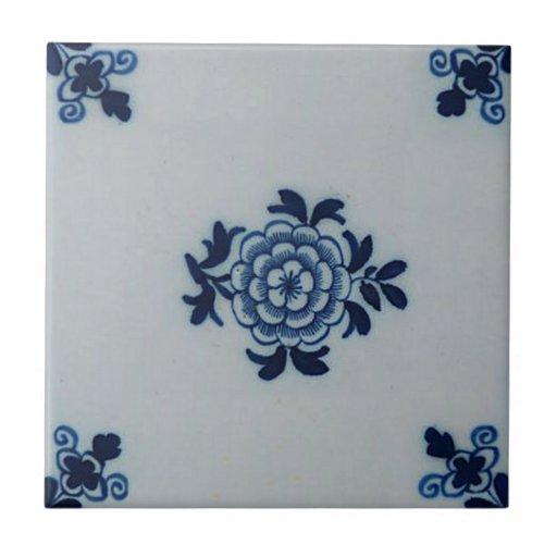 Classic Antiquarian Delft Blue Tile - Floral Motif