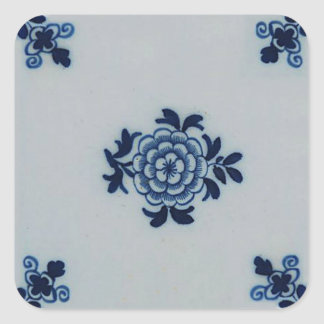 Classic Antiquarian Delft Blue Tile - Floral Motif Square Sticker