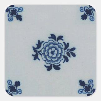 Classic Antiquarian Delft Blue Tile - Floral Motif Square Sticker