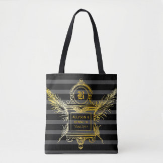 Classic Antique Gold Frame Feathers Quill Monogram Tote Bag
