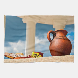 Classic antique still-life with a pitcher tea towel