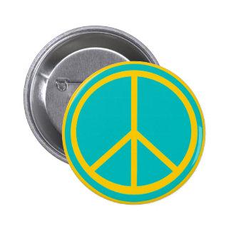 Classic Aqua Blue Peace Sign 6 Cm Round Badge
