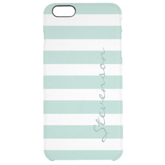 Classic Aqua Mint Stripe Pattern Personalized Name Clear iPhone 6 Plus Case