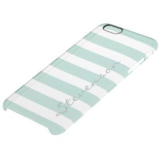 Classic Aqua Mint Stripe Pattern Personalized Name iPhone 6 Plus Case