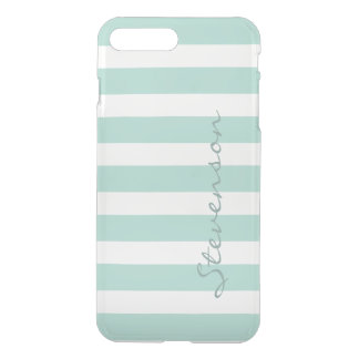 Classic Aqua Mint Stripe Pattern Personalized Name iPhone 7 Plus Case