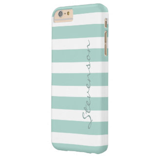 Classic Aqua Mint Stripes Pattern Monogrammed Barely There iPhone 6 Plus Case