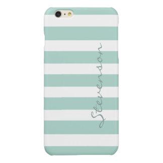 Classic Aqua Mint Stripes Pattern Monogrammed iPhone 6 Plus Case