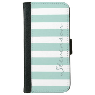 Classic Aqua Mint Stripes - Personalized Name iPhone 6 Wallet Case
