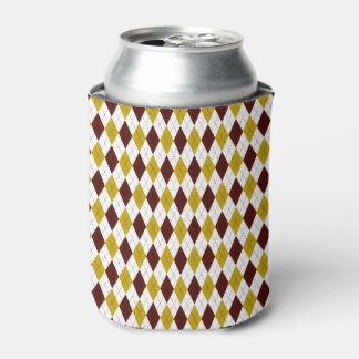 Classic Argyle Diamond Pattern in Garnet and Gold Can Cooler