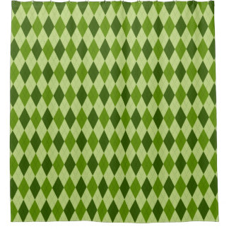 Classic Argyle Diamond Plaid in Light Green Shower Curtain