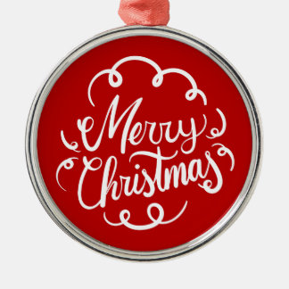 Classic Art Deco Merry Christmas Typography Silver-Colored Round Decoration